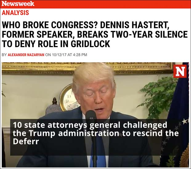 Newsweek Uses Accused Pedophile Dennis Hastert to Attack Trump