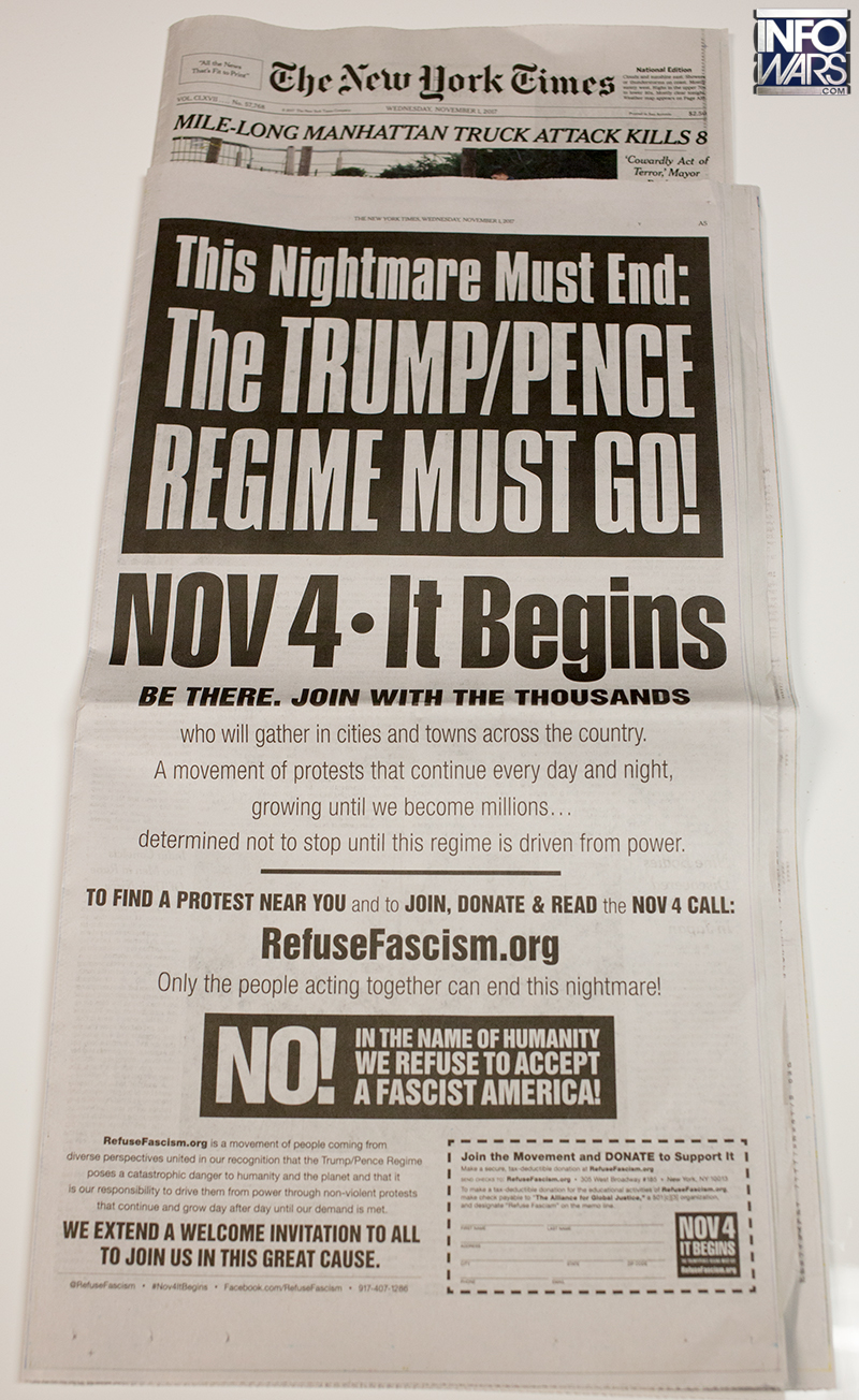 Full-Page NY Times Ad Demands Antifa Revolution to Overthrow Trump