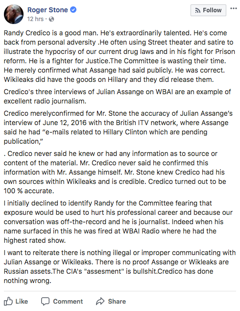 Roger Stone's Statement on His WikiLeaks Contact Randy Credico