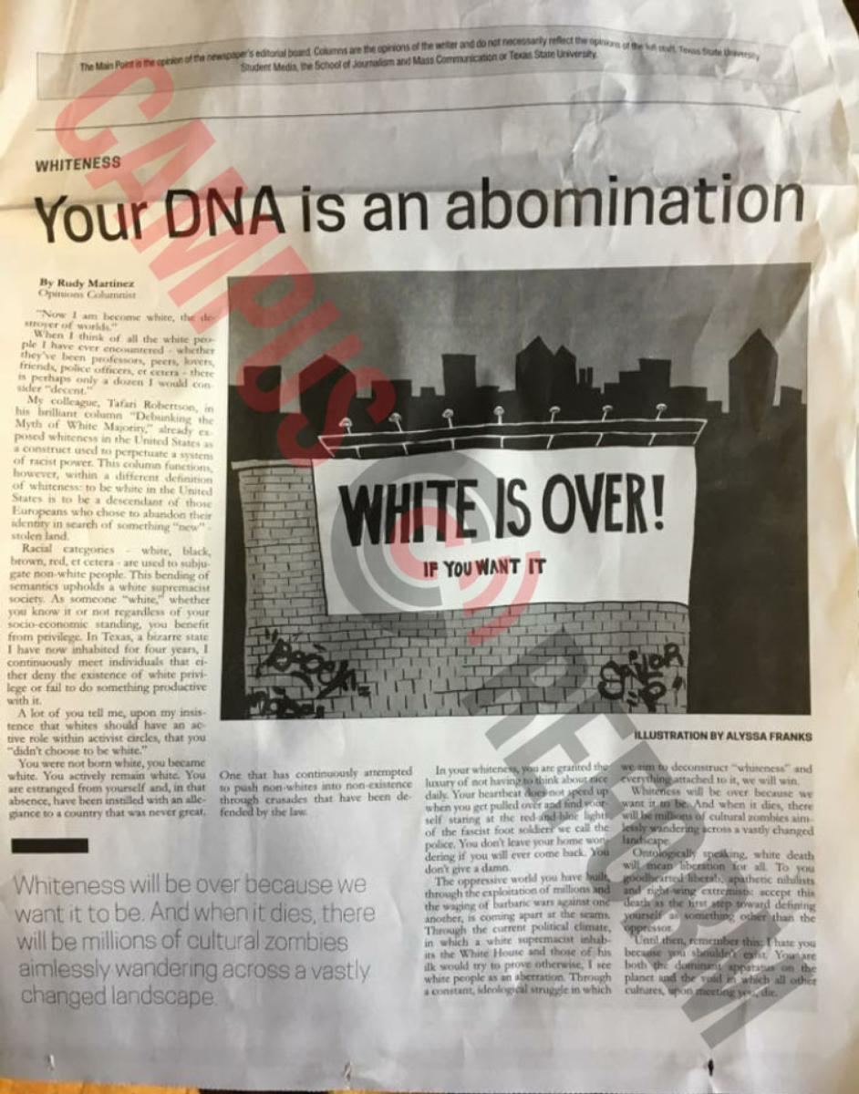 Student Op-Ed Calls Calls White People 'Abomination'