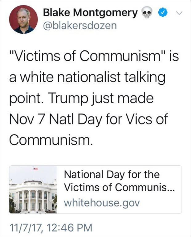 Buzzfeed Reporter: Trump Honoring Victims of Communism Is 'White Nationalist Talking Point'