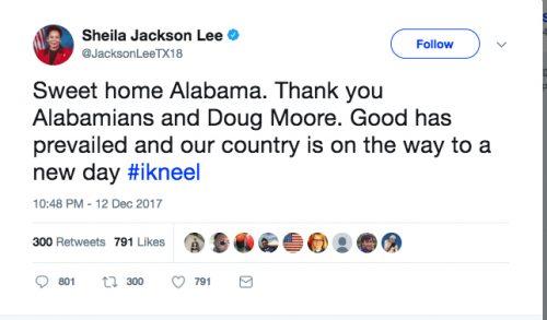 Sheila Jackson Lee Congratulates 'Doug Moore' For Winning Alabama Senate Race