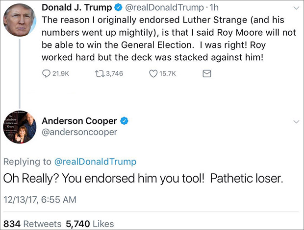 Anderson Cooper Claims Twitter Hacked After Tweet Calls Trump 'Pathetic Loser'