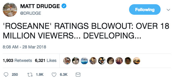 Pro-Trump Roseanne Reboot Premier Draws Yuge Ratings