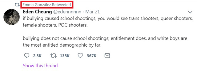 Parkland Student Retweets Message Blaming 'White Boys Entitlement' for School Shootings