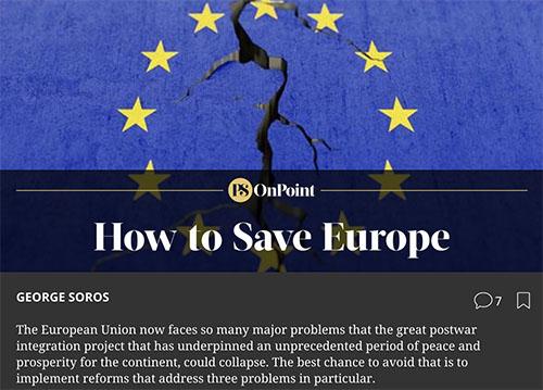 Soros Unveils Plan to 'Save EU'