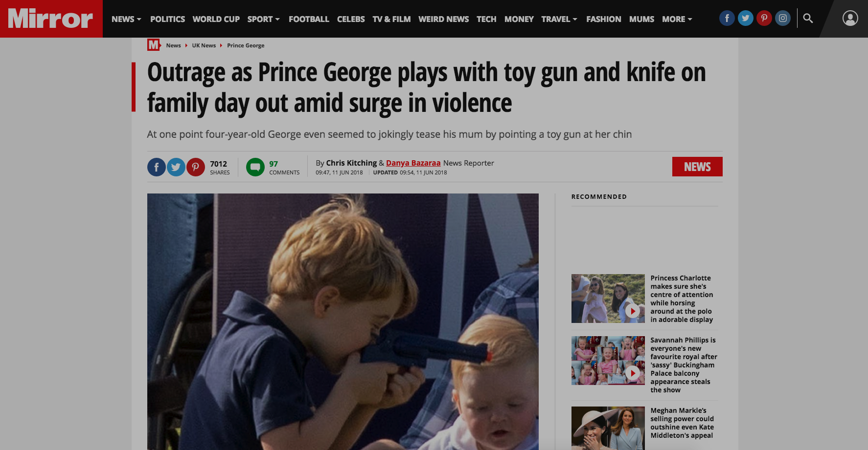 Pics of 4-Year-Old Prince George Playing With Toy Gun Trigger Liberals