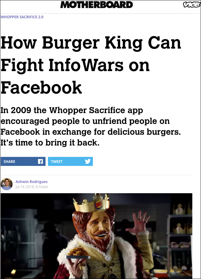 Leftist Asks Burger King to 'Fight Infowars' on Facebook with Whoppers