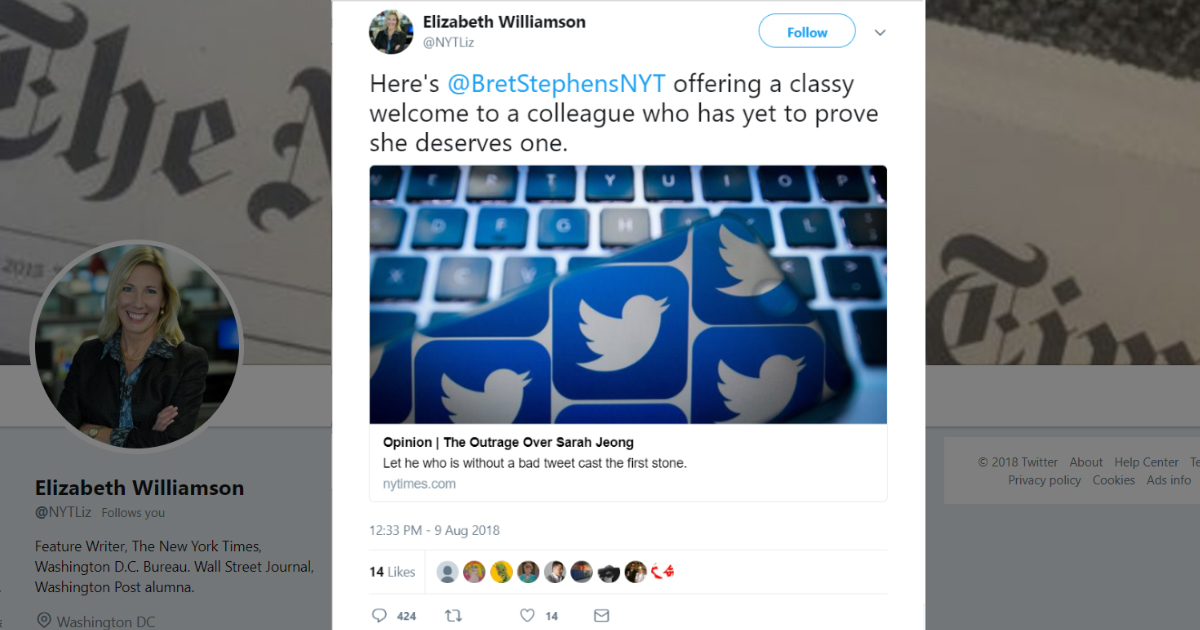NYT Feature Writer Deletes Tweet Criticizing Racist Hire Sarah Jeong