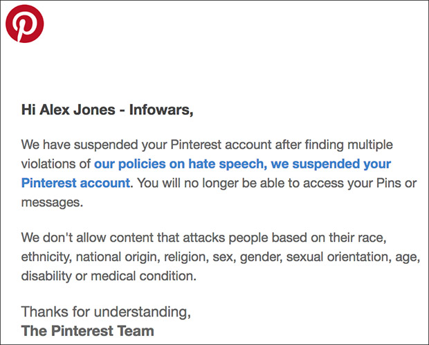 Pinterest Removes Infowars Account Amid Mass Censorship Purge