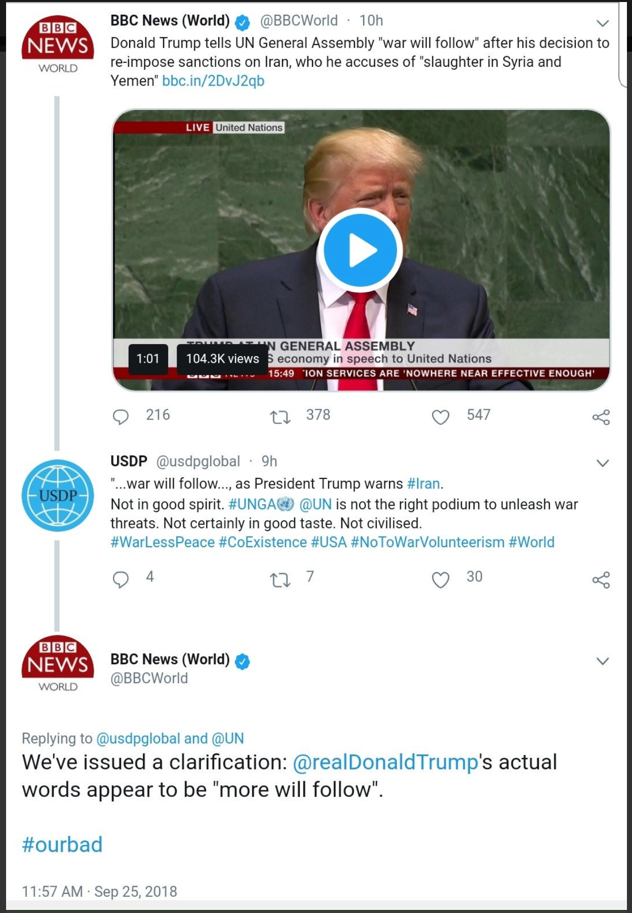 """BBC Misreports Trump's Words - Replaces """"More"""" With """"War"""""""