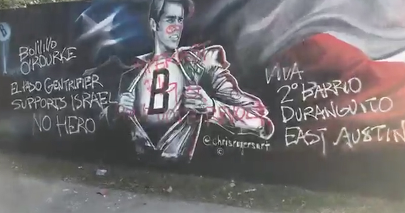 Watch: Beto O'Rourke Mural In Austin Gets Vandalized With Anti-Beto Messages