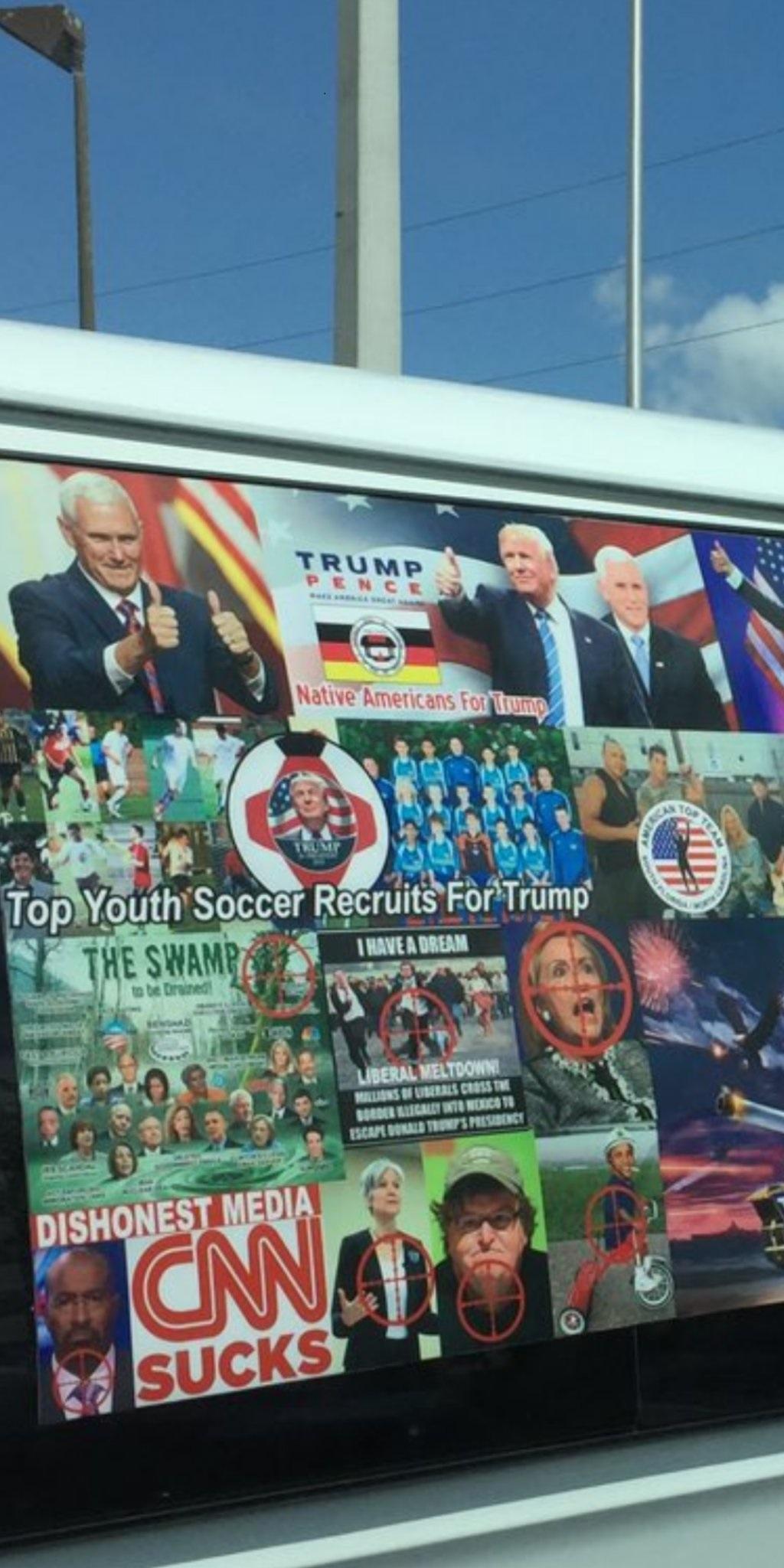 Close-up of Pro-Trump, Anti-leftist Stickers on Bomb Suspect Van