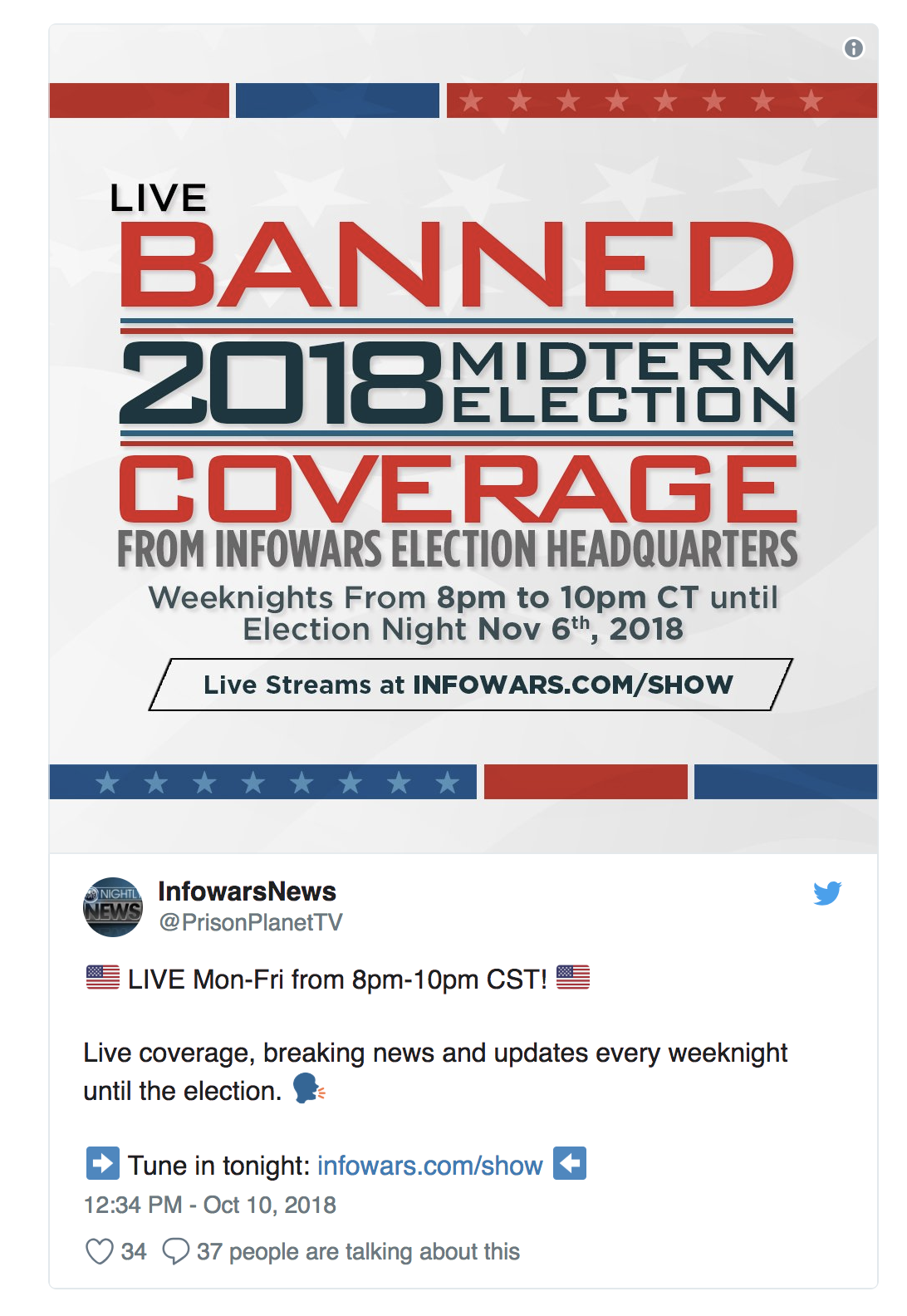 Twitter Bans Infowars Account for No Reason
