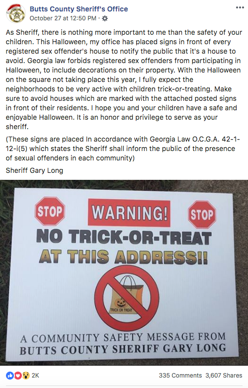 """Sheriff Places """"No Trick-Or-Treat"""" Signs In Sex Offender Yards"""