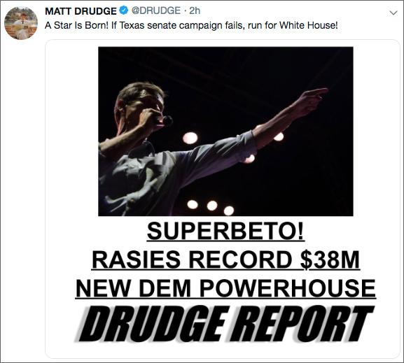 'Run for White House'? Matt Drudge Sees Rising Dem Superstar in Beto