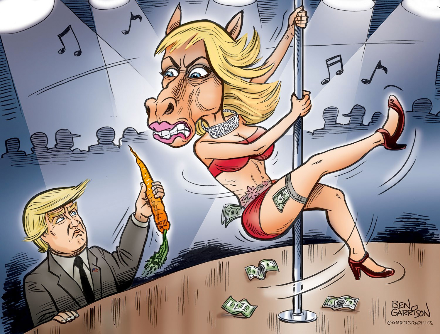 'Horseface' Stormy Daniels Strips for Carrots, In Savage Political Cartoon