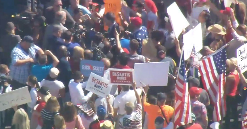Watch: Four Trucks Block Entrance To Broward County Elections Office As Protesters Gather