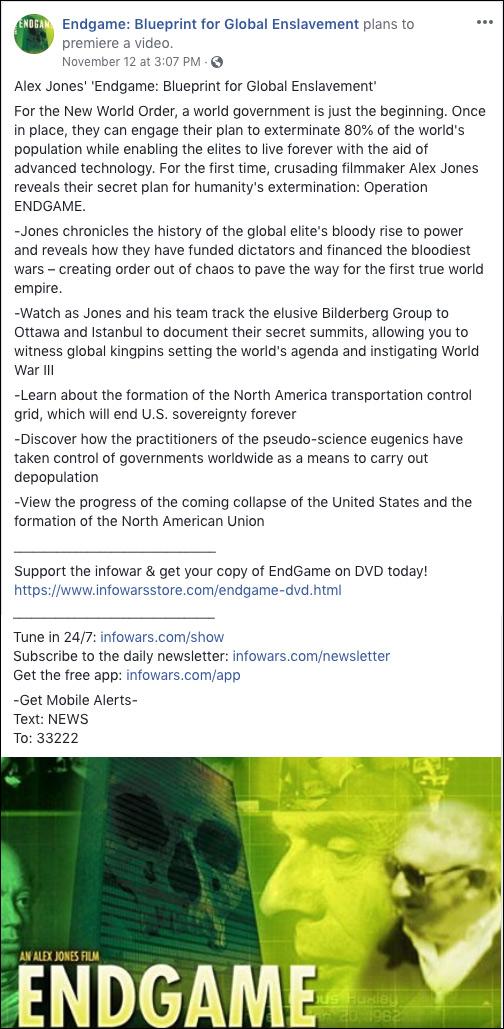 Watch Infowars' Facebook Premiere of 'Endgame: Blueprint for Global Enslavement'
