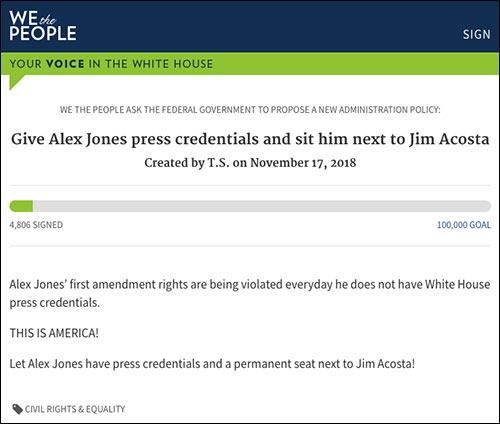 Petition Launched to Give Alex Jones White House Press Pass