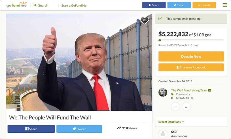 Update: Vet's GoFundMe Raises Over $5.5M in 3 Days to Build The Wall