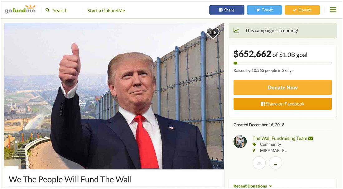 'We the people will fund the wall': Vet Raises Over $4 Million to Build Border Wall, in Massive Crowdfund Effort
