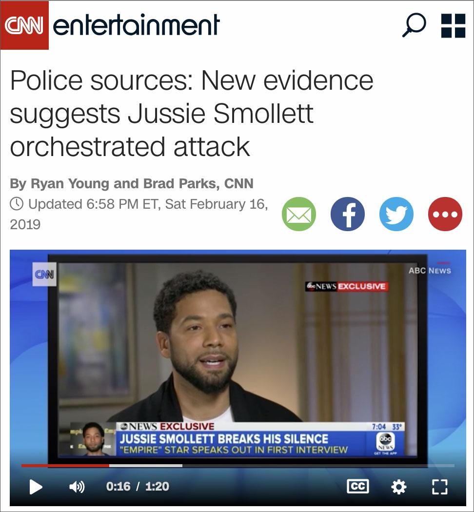 Breaking: CNN Reports Jussie Smollett Staged Racist Attack