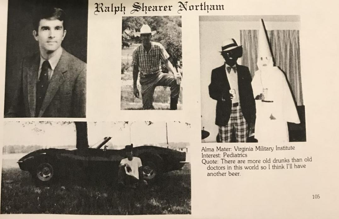 VA Gov Northam Yearbook Page Features Men in Blackface, KKK Outfits