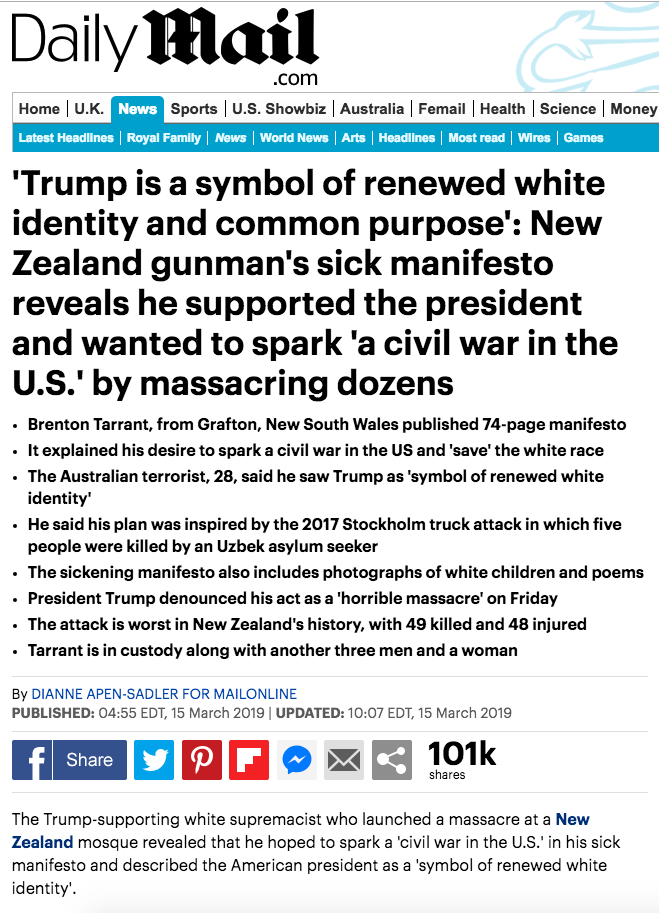 "Media Claims Christchurch Shooter Supported Trump, But Manifesto Says ""Dear God No"""