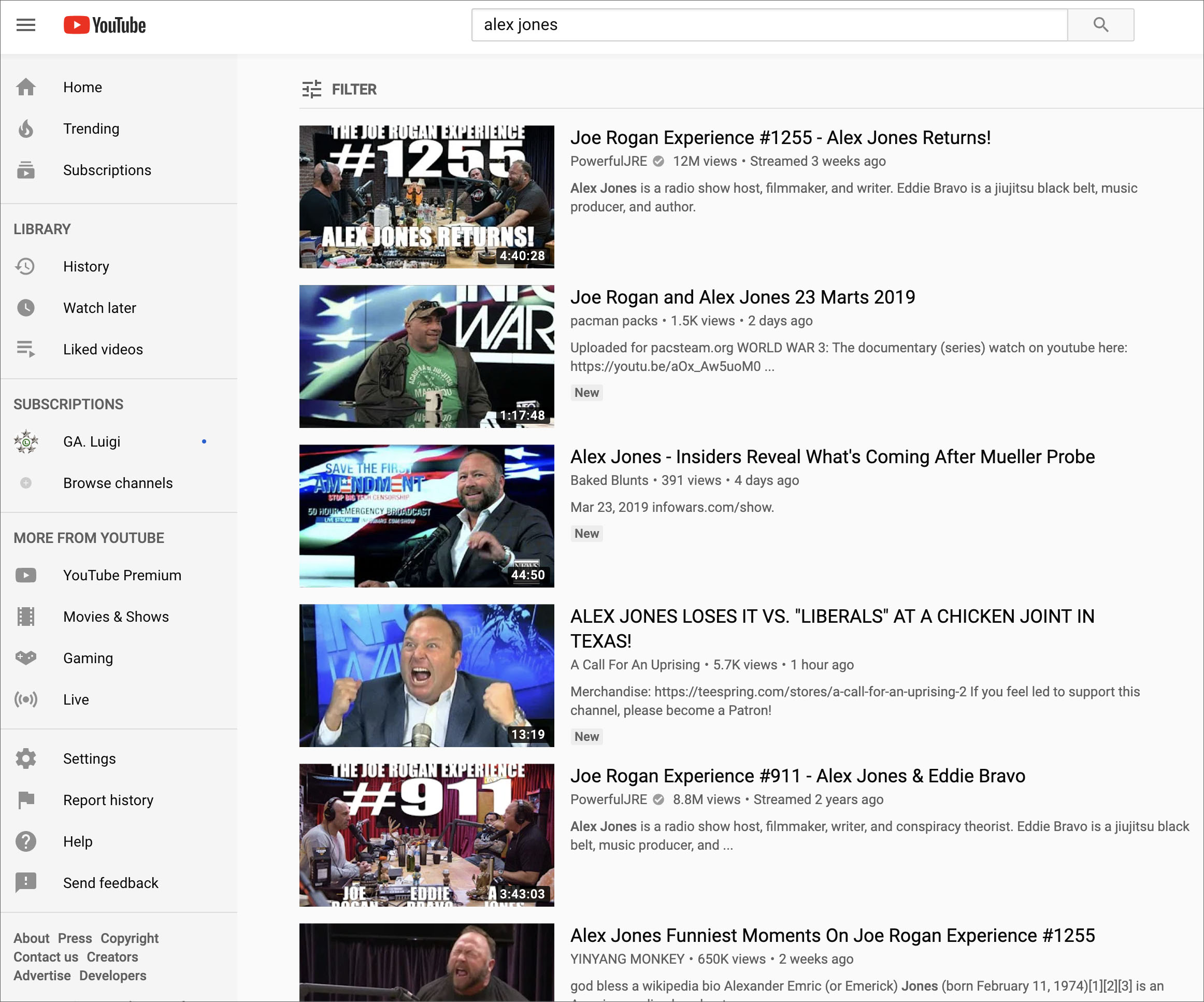 Proof: YouTube Corrects Alex Jones Results After Infowars Calls Out Gamed Algorithm