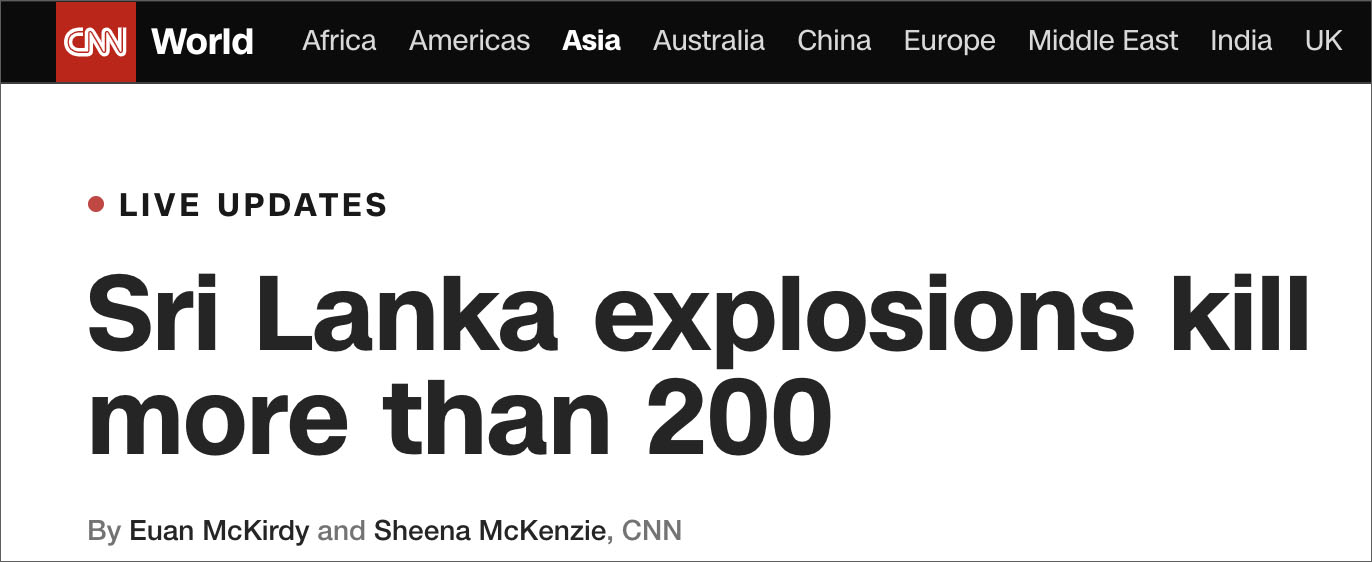 Media Downplays Sri Lanka Islamic Bombing That Killed 400% More People Than Christchurch