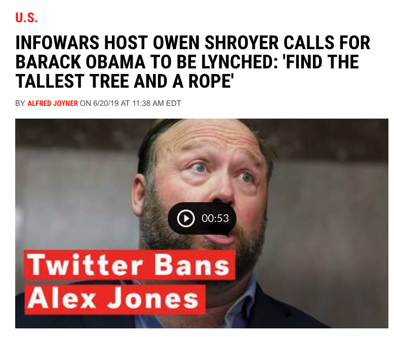 Newsweek Runs Headline Claiming Owen Shroyer Called For Obama's Lynching