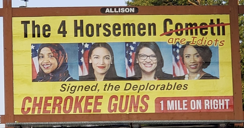 Leftists Outraged Over Gun Shop Billboard Mocking 'The Squad'