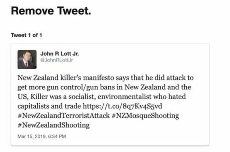 "Twitter Blocks ""More Guns Less Crime"" Author John Lott Jr Over Factual New Zealand Tweet"