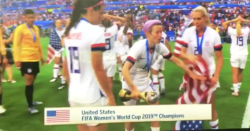 VIDEO: U.S. women's soccer player tosses American flag on ground during World Cup celebration