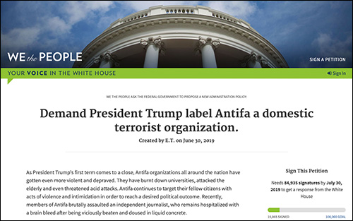 Thousands Sign White House Petition to Label Antifa 'Terrorist Organization'