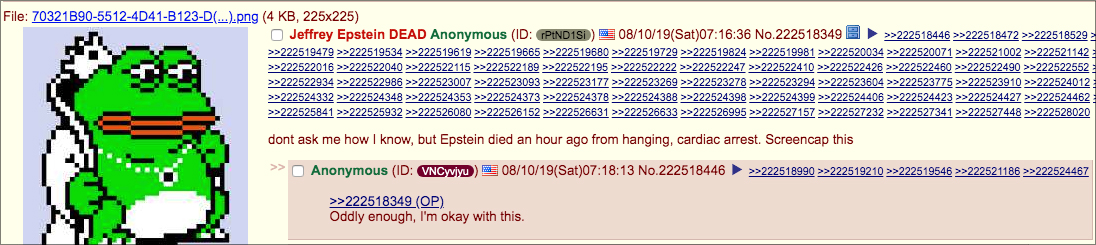 4chan-pepe 4CHAN BROKE EPSTEIN'S DEATH BEFORE MEDIA, INVESTIGATION LAUNCHED [your]NEWS