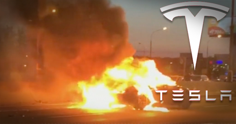 Video: Tesla On Autopilot Explodes Twice After Hitting Tow Truck