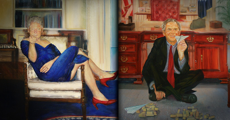 Artist Who Painted Bill Clinton in a Dress Also Painted George W. Bush Re-Enacting 9-11