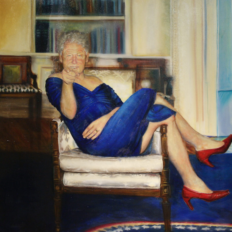 Petrina-Ryan-Kleid-Parsing-Bill ARTIST WHO PAINTED BILL CLINTON IN A DRESS ALSO PAINTED GEORGE W. BUSH RE-ENACTING 9-11 Top Stories U.S. [your]NEWS