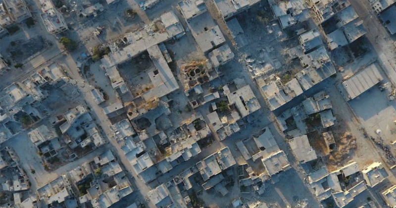 Aerial Footage of Town Reclaimed by Syrian Army Surfaces