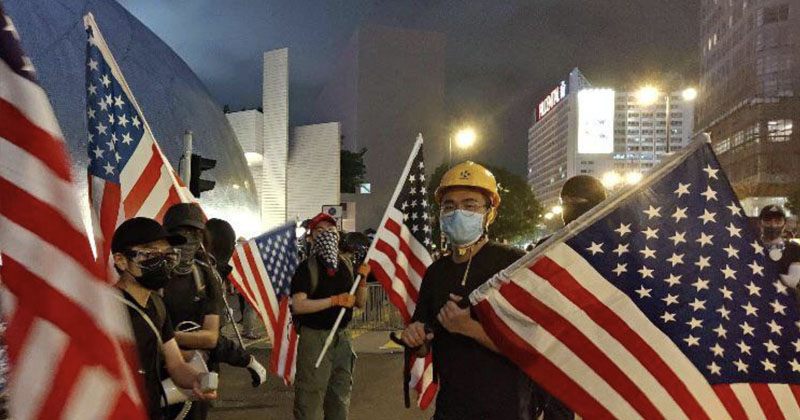1776 Worldwide: Hong Kong Protesters Fly U.S. Flag, Sing National Anthem To Protest ChiCom Takeover
