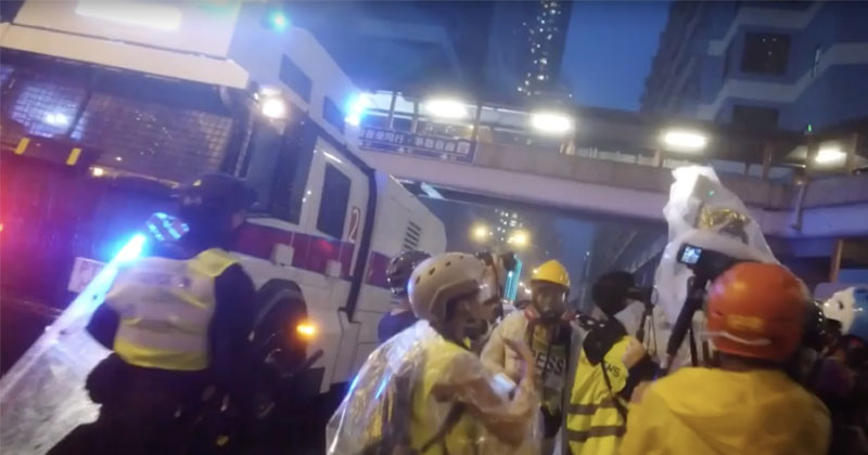 Hong Kong Rolls Out Water Cannons After Protesters Hurl Bricks & Fire Bombs
