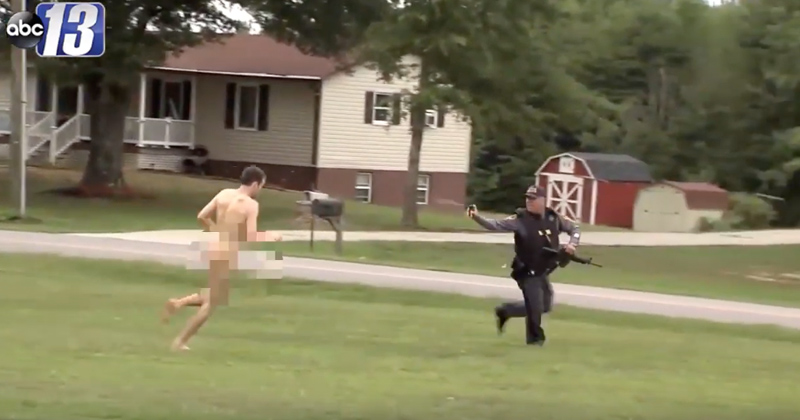 Insane Video: Naked Triple Murder Suspect Chases Police, Attacks Man