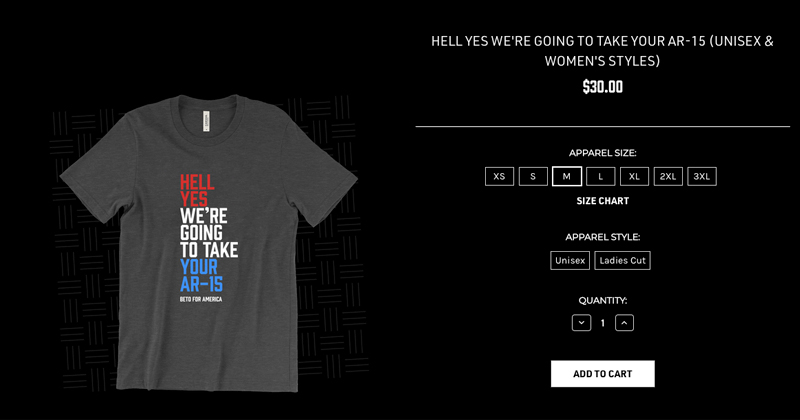 Beto Campaign Selling Gun Confiscation Shirts
