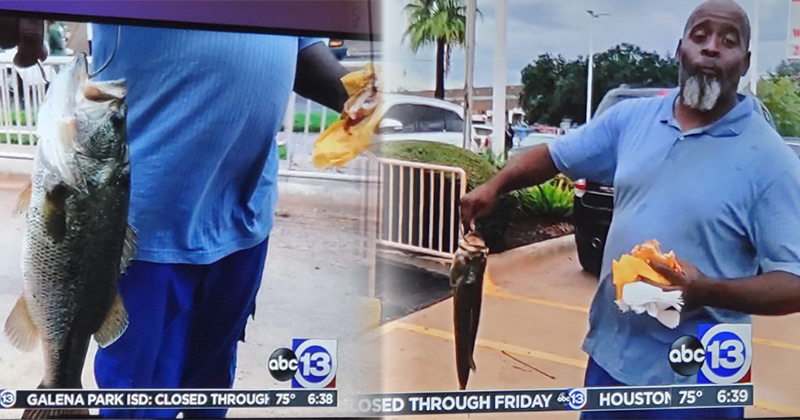 Man Catches Fish While Eating Burger During Tropical Storm Imelda