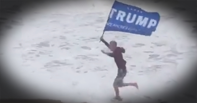 Watch: Florida Man Runs With Trump Flag In Face Of Hurricane Dorian