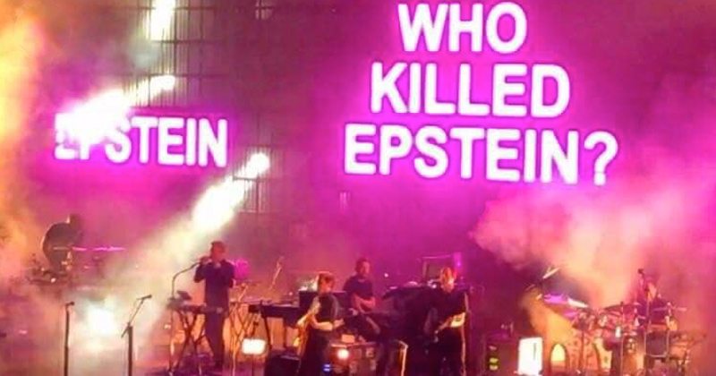 UK Band Massive Attack Flashes Q, Epstein Messages at Concert