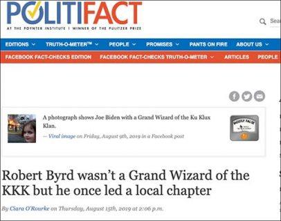 PolitiFact Rates 100% Real Photo of Biden with KKK Leader Robert Byrd 'Mostly False'