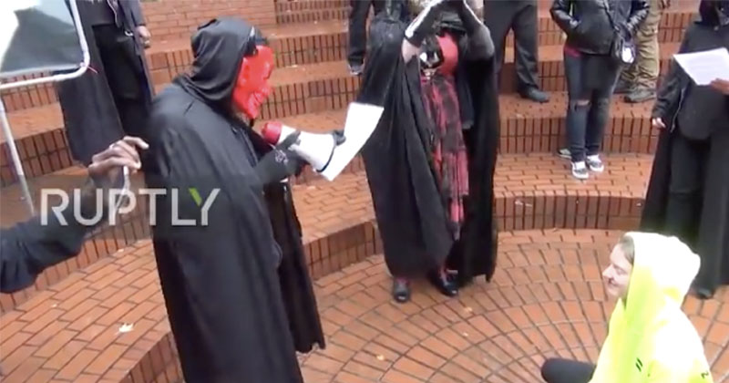 'Hail Satan!' Antifa Transsexuals Stage Satanic Ritual In Downtown Portland to Protest Patriot Prayer